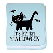Baby's 1st Halloween kitty baby blanket