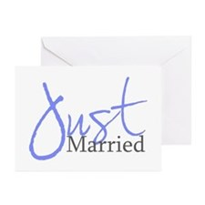 Just Married (Blue Script) Greeting Cards (Package
