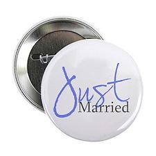 Just Married (Blue Script) Button