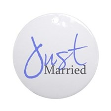 Just Married (Blue Script) Ornament (Round)