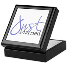 Just Married (Blue Script) Keepsake Box