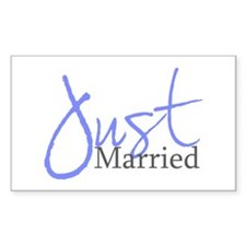 Just Married (Blue Script) Rectangle Decal