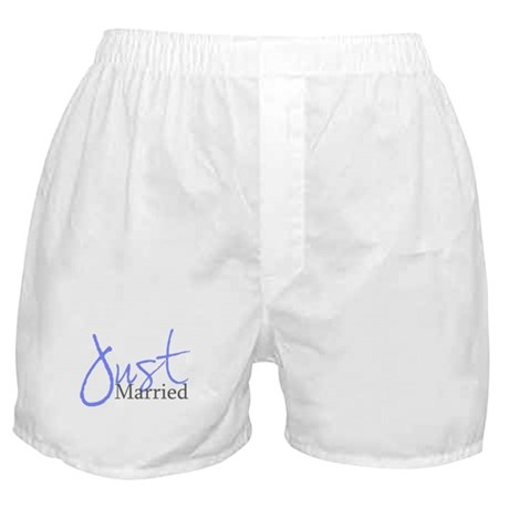 Just Married (Blue Script) Boxer Shorts