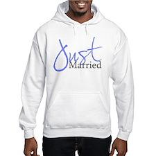 Just Married (Blue Script) Hoodie