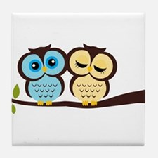 Blue and Yellow Owls Tile Coaster