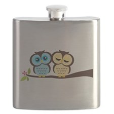 Blue and Yellow Owls Flask