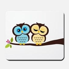 Blue and Yellow Owls Mousepad