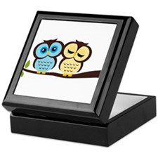 Blue and Yellow Owls Keepsake Box