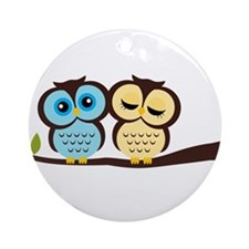 Blue and Yellow Owls Ornament (Round)