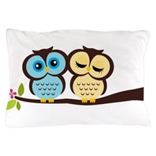 Blue and Yellow Owls Pillow Case