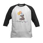 Birthday Boy Party Bear Kids Black Baseball Jersey