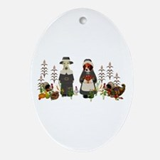 Thanksgiving Dogs Ornament (Oval)