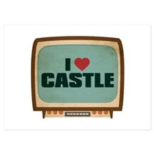 Retro I Heart Castle Invitations