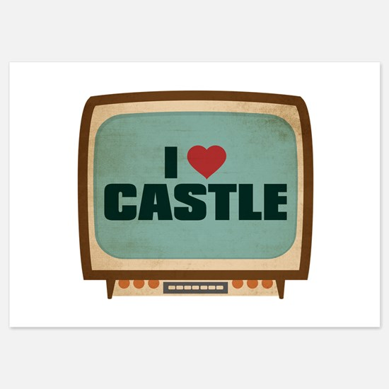 Retro I Heart Castle Invitations