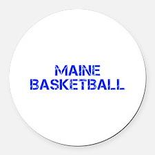 MAINE basketball-cap blue Round Car Magnet