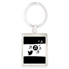 Modern stylish singing bird musical notes Keychain