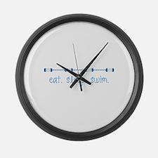 Eat Sleep Swim Large Wall Clock