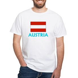 Austria Flag Classic Blue Design T-Shirt