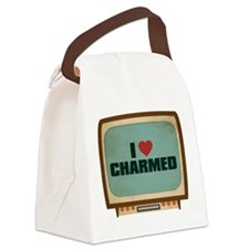Retro I Heart Charmed Canvas Lunch Bag