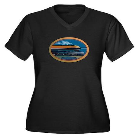 Train Art Women's Plus Size V-Neck Dark T-Shirt