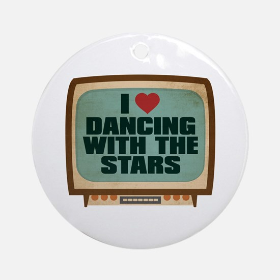Retro I Heart Dancing With the Stars Round Ornamen
