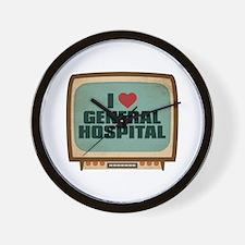 Retro I Heart General Hospital Wall Clock