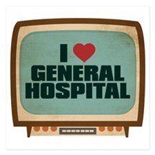 Retro I Heart General Hospital 5.25 x 5.25 Flat Ca