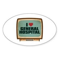 Retro I Heart General Hospital Oval Decal