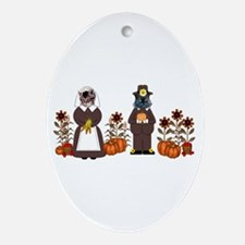 Thanksgiving Cats Ornament (Oval)