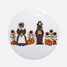 Thanksgiving Cats Ornament (Round)
