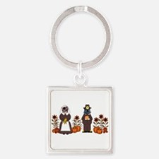 Thanksgiving Cats Square Keychain