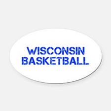 WISCONSIN basketball-cap blue Oval Car Magnet