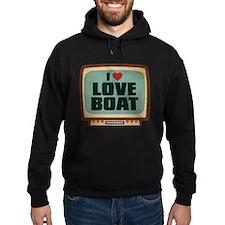 Retro I Heart Love Boat Dark Hoodie