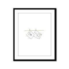 Skeleton on Clothesline Framed Panel Print