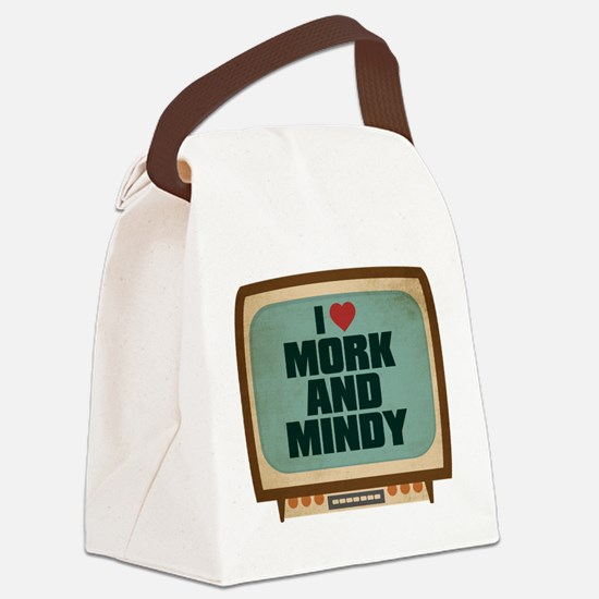Retro I Heart Mork and Mindy Canvas Lunch Bag