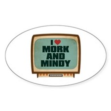 Retro I Heart Mork and Mindy Oval Decal