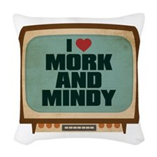 Retro I Heart Mork and Mindy Woven Throw Pillow