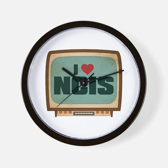Retro I Heart NCIS Wall Clock