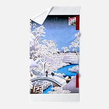 Hiroshige Drum Bridge Beach Towel