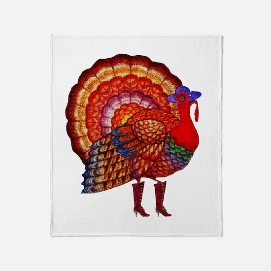 Thanksgiving Fashion Turkey Throw Blanket