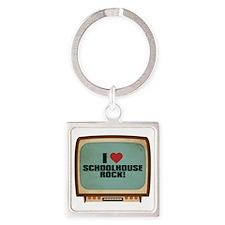 Retro I Heart Schoolhouse Rock! Square Keychain