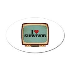 Retro I Heart Survivor 22x14 Oval Wall Peel