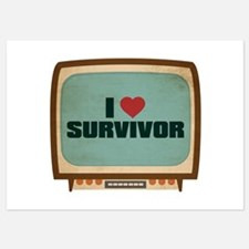 Retro I Heart Survivor Invitations
