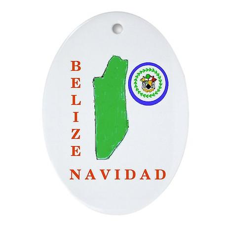 Belize Navidad Oval Ornament