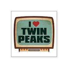 """Retro I Heart Twin Peaks Square Sticker 3"""" x 3"""""""