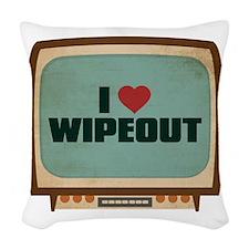 Retro I Heart Wipeout Woven Throw Pillow