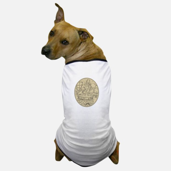 Medieval Monk Brewing Beer Oval Drawing Dog T-Shir