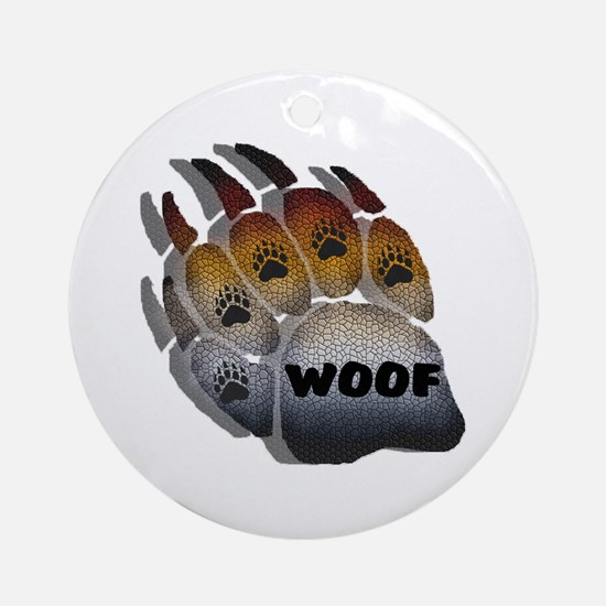 wOOF FURRY BEAR PRIDE PAW Ornament (Round)