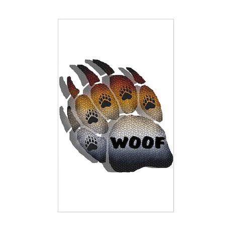 wOOF FURRY BEAR PRIDE PAW Rectangle Sticker