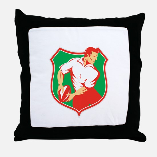 Rugby Player Passing Ball Shield Retro Throw Pillo